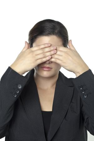businesswoman covering her eyes