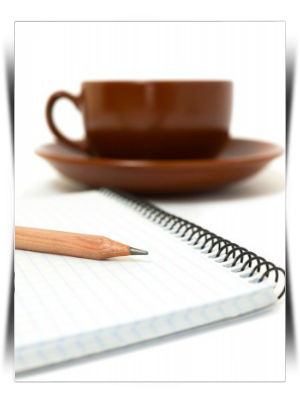 pencil, notebook and coffee